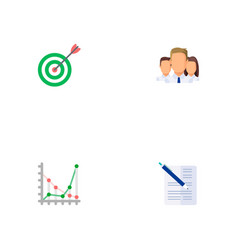 set of trade icons flat style symbols with chart vector image