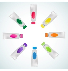 Set of tube paint colorful vector