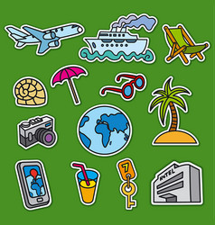 set stickers for tourism and travel services vector image