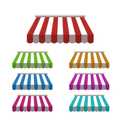 Set striped colorful awnings for shop vector