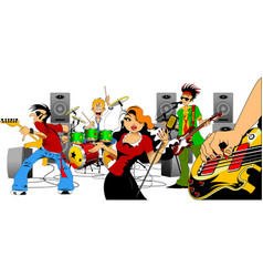 singer and music group vector image