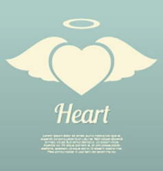 Single Heart Wings With Halo Symbol vector image