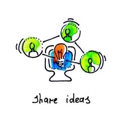 Sketch watercolor icon of share ideas distance vector