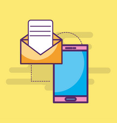 smartphone email message letter sending vector image