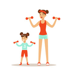 smiling woman and girl exercising with dumbells vector image