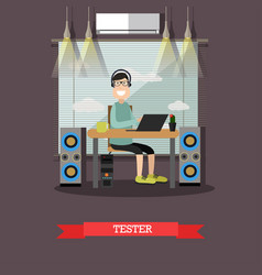 Software tester in flat style vector
