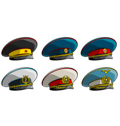 Soviet military officer peaked cap with red star vector