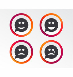 speech bubble smile face icons happy sad cry vector image