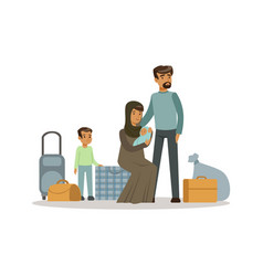 Stateless refugee family with suitcases war vector