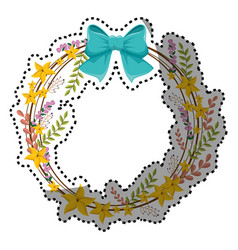 sticker circular border with yellow flowers and vector image