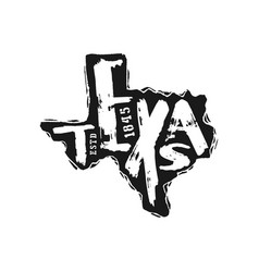 Texas state silhouette emblem with handwritten vector