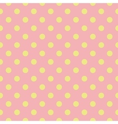 Tile pattern green polka dots on pink background vector