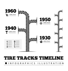 Tire tracks timeline infographics vector