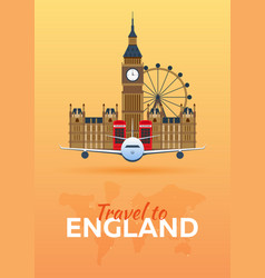 Travel to england airplane with attractions vector