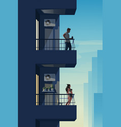 Two different neighbors on balconies at sunset vector