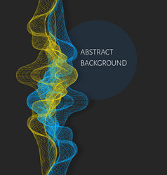 Wavy abstract background with wireframes vector