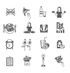 Weight loose diet black icons set vector image