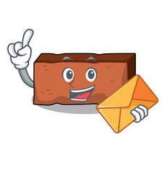 With envelope brick character cartoon style vector