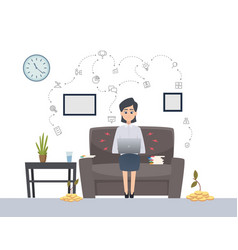 woman works with laptop freelance single startup vector image