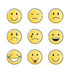 yellow smiling cartoon face people emotion icon vector image
