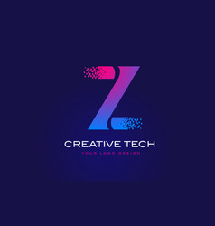 z initial letter logo design with digital pixels vector image