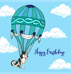 background with dog and air balloon vector image