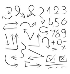 big set of hand drawn numbers arrows for vector image