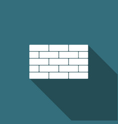 bricks icon isolated with long shadow vector image vector image
