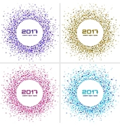 Bright colorful new year circle frames backgrounds vector