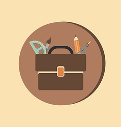 School bag with stationery Symbol office or school vector image