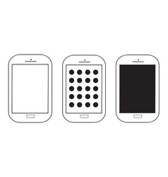 three mobile phones set vector image vector image