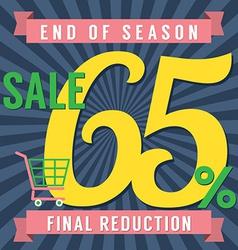 65 percent end of season sale vector
