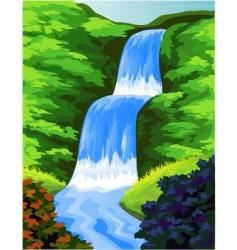 beautiful waterfall vector image