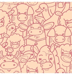 Cute farm animals seamless pattern background vector image