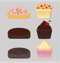 donuts and muffins set vector image
