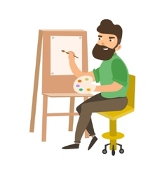 Painter Man at Work Easel Palette vector image