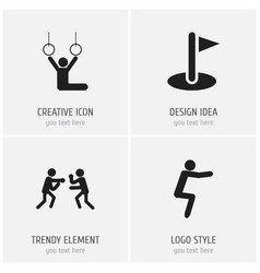 set of 4 editable fitness icons includes symbols vector image vector image