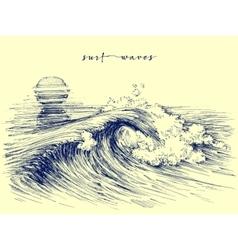 Surf waves sea waves graphic ocean wave sketch vector