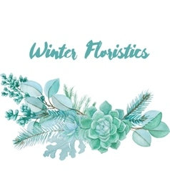 Winter Watercolor Floristic Composition vector image vector image