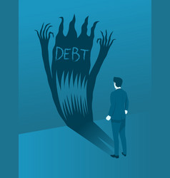 businessman facing the debt evil concept of brave vector image