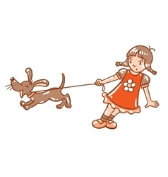 Girl with barking dog vector