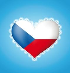 Heart shape czech flag vector