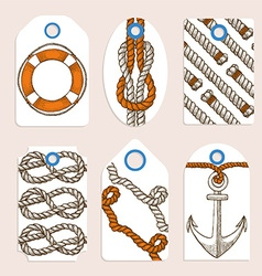 Marine tags in vintage style vector image