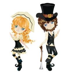 Pilgrim Boy and Girl vector image vector image