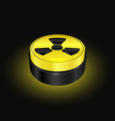 Radiation symbol button yellow warning sign vector