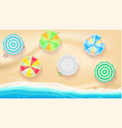 set of colorful beach umbrellas on the background vector image vector image