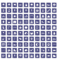 100 childrens parties icons set grunge sapphire vector image vector image