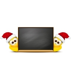 Background with cartoon chickens in santa hat vector