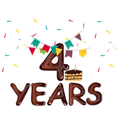 birthday card for four years with cake vector image vector image