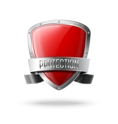 Blank red realistic glossy protection shield with vector image vector image